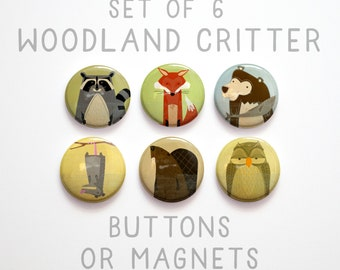 """Gifts for Girls, 1"""" Woodland Animal Buttons, 6 Woodland Creature Buttons 1 inch or Magnets, Fox Buttons, Owl Buttons, Fox Magnet"""