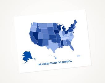 US Art Map Print.  Color Options and Size Options Available.  Map of The United States of America.