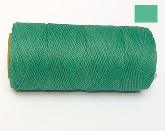 Macrame Cord Waxed Polyester Cord Green Turquoise Spool of 188 yards