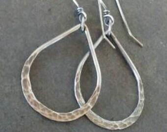 Rustic-Handmade-Hoop-Dangle-Artisan- Sterling Silver- Earrings.