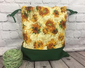 Sunflowers - Van Gogh pront, Knitting Project Bag, Crochet Bag, Yarn Bag, Project Bag, Shawl Knitting Bag, Sock knitting bag,