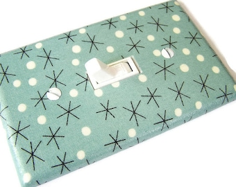 GREEN STARS RETRO Light Switch Cover Plate Switchplate Mid Century Modern Decor
