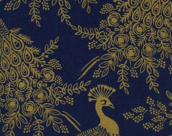 Royal Peacock in Navy (metallic) Canvas -Menagerie -Anna Rifle Bond for Cotton + Steel