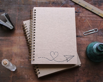 HARDCOVER - Paper Airplane Heart - Letter pressed 5.25 x 7.25 inch journal