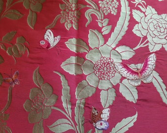 "LOT of 2 x Pieces COLEFAX & FOWLER ""Emperor Butterfly"" 23"" x 19.5"" Embroidered Silk Floral Damask Red Gold F3409/01 F3408/01 (Cowtan + Tout)"