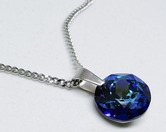 Pendant necklace, swarovski crystal and stainless steel