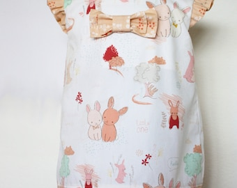 Easter dress bunnies Baby bunnies dress Girls dress bunny flutter sleeves bow Sizes 3-6m, 6-9m, 12-18m, 2, 3,4,5,6,7,8,10