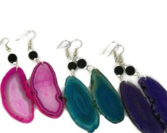 Geode Stone, Agate Slice Dangle Earrings, Boho Jewelry, in Magenta, Teal, or Purple