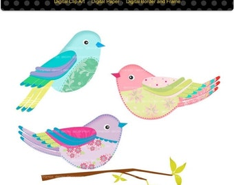 ON SALE Bird clip art , instant download Digital clip art Summer Birds,  PNG and Jpg format