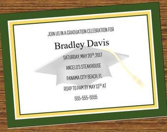 Green and Gold Graduation Party Invitation, school colors graduation party invitation, graduation invitation,  high school, college, pdf