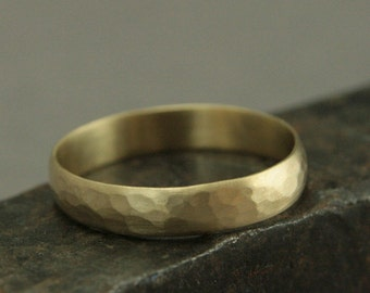 Hammered and Brushed Gold Wedding Band--4mm Wide Perfect Hammered Band--Men's Wedding Ring--Rustic Gold Wedding Band--Your Choice of Color