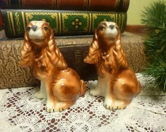 Vintage Spaniel Dog Salt and Pepper Shakers   (T)