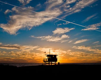 Venice Beach Sunset ,Silhouette, Lifeguard Station, Instant Download,Fine Art Photography,Venice Beach Photos