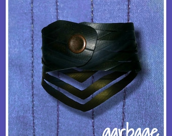 Arrow Cuff: Unisex Recycled Bicycle Inner Tube Vegan Leather Cruelty Free Upcycled Jewelry