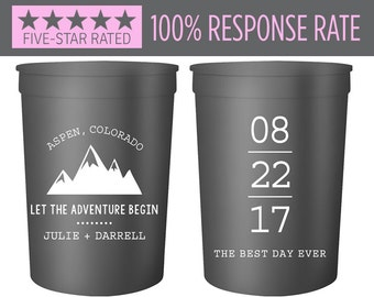 Stadium Cups 16oz, Let the Adventure Begin Mountain Wedding Stadium Cups, Personalized Party Cup, Wedding Stadium Cups, Mountain Favors (41)