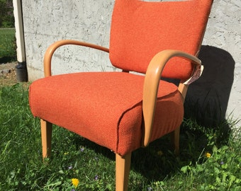 Heywood Wakefield M340c pull up chair side upholstered RESTORED