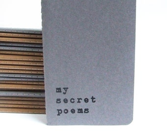 MOLESKINE® 'MySecret Poem's' hand screen printed Notebook for the poet in you! Poet's note Pad; Daily Poem; Poetry Club book; Rhyme Book;