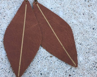 Leather Earrings- A House Divided