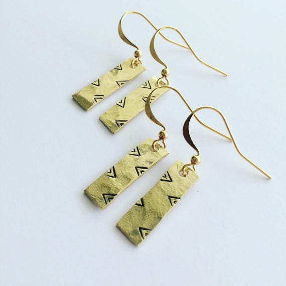 Planished Raw Brass Rectangular Drop Earrings with Tribal Stamps - Boho - Gypsy - Tribal - Pattern -