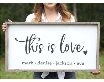 This Is Love Mothers Day Gift Personalized Gift for Mom Anniversary Gift for Wife Gift Mothers Day Gift from Daughter Farmhouse Wood Sign