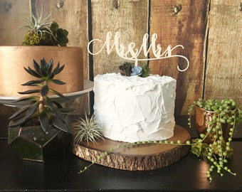 Mr and Mrs Wedding Cake Topper, Wooden Wedding Cake Topper, Wooden Cake Topper, Rustic Cake Topper, Mr & Mrs Topper, Mr Mrs Cake Topper