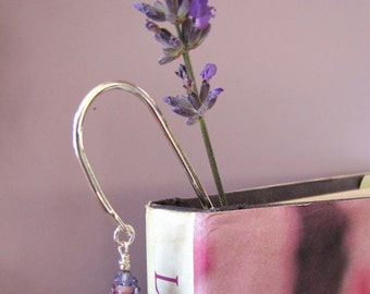 Handmade Lavender Glass Bead Bookmark with Dried Lavender Sachet Buds