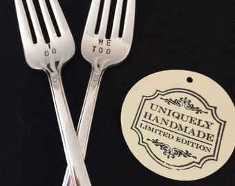 Hand Stamped Vintage Silverplate I do Me Too Wedding Cake Fork Set Photo Prop Dessert