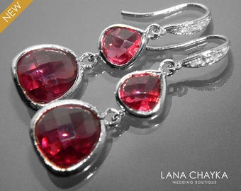 Ruby Silver Earrings Ruby Crystal Earrings Ruby Pink Teardrop Earrings Bridesmaid Ruby Jewelry July Birthstone Chandelier Dark Pink Earrings