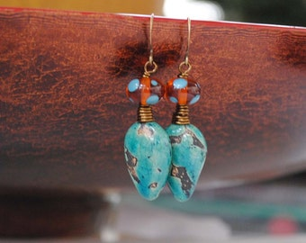 Teal Ceramic Earrings, Polka Dot Earrings, Boho Earrings, Pod Earrings, Lampwork Earrings, Earthy Earrings,