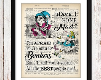 INSTANT DOWNLOAD,3 Sizes,Mad Hatter print,party gift,vintage gift,wall art, unique gift,baby shower gift,birthday present,present for friend