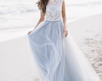 Grey wedding dress Diamond / Sleeveless bridal gown / Luxurious lace wedding gown / Ethereal wedding dress in grey shade