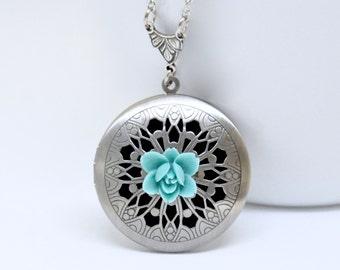 Teal Blue Flower Locket Necklace, Antique Silver Locket, Filigree Locket, Lotus Flower Locket, Flower Necklace, Floral Scent Locket Pendant