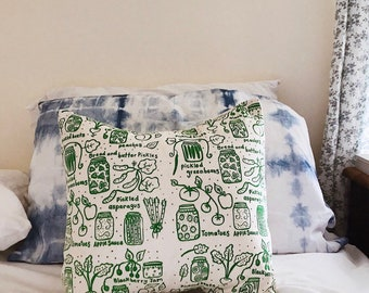 Pillow Cover - Canning - 16 x 16 Hand Printed Design - farm, garden, nature, pickles, gardening, summer, fall, chickens, outdoors