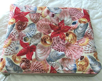 quilted zippered pouch / travel bag / quilted bag red and tan seashell print coordinated lining