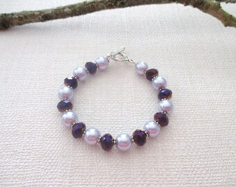 Bracelet pearls faceted purple and lilac