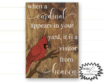 When a Cardinal Appears - When a Cardinal Appears in Your Yard - Cardinal Heaven - Cardinal Sign - Visitor From Heaven - In Memory Of - Sign