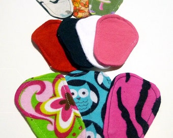 Reusable Cloth ULTRATHIN lay-in wingless pantyliners - Assorted set of 10 in Cotton Flannel