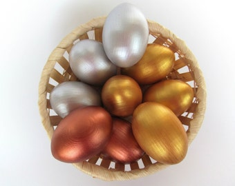 Easter gift baby - Wooden Gold EGGS - 6 Gold Silver Red gold Easter eggs - Pretend Play - Play Food - Waldorf - Montessori Toy - Natural Toy