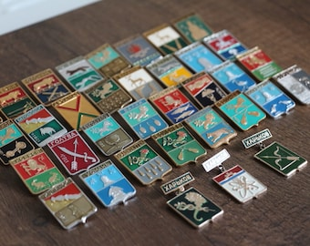 A big collection of vintage badges, a collection of old Cities. 35 pcs. set#8