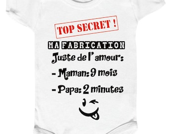 """""""the secret of my production"""" onesie Bodysuit humor, MOM and dad."""