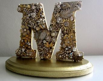 Gold Cake Topper, Custom Brooch Letter, Monogram Cake Topper, Vintage Wedding, Gold Jewelry Topper, Art Deco Wedding, Wedding Gift, Handmade