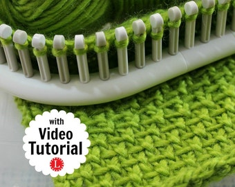 Loom Knitting PATTERNS : The Linen Stitch Afghan / Blanket / Dishcloth / Washcloth Square 8x8