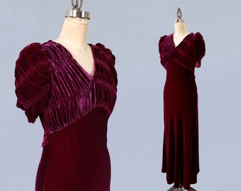 1930s Dress / Late 30s Early 40s Burgundy Silk Velvet Gown / Ruched Bodice / Puffed Sleeves