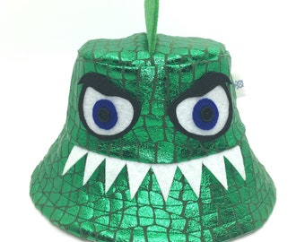 Dinosaur bucket hat, reptile, big teeth, shiney green, 6 months to adult, fun clothes, fun summer hat, funky hat, sun protection, handmade