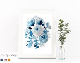Illustration Florale Bleue Aquarelle