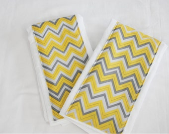Yellow and Grey Chevron Burp Cloths - Set of 2