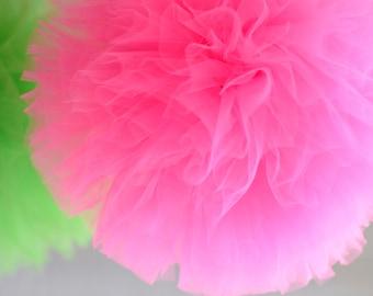 "MEDIUM Tulle pom poms  8"" /20cm  - custom colors - wedding party decor - Party Decoration /Tutu /baby shower"