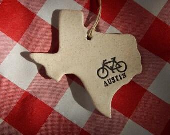 Austin Texas Ornament, Bicycle, ATX, Austin Ornament, Austin Memento, Keepsake