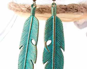 Tibetan Jewellery Gold Bronze Verdigris Boho Feather Earrings With Gift Pouch