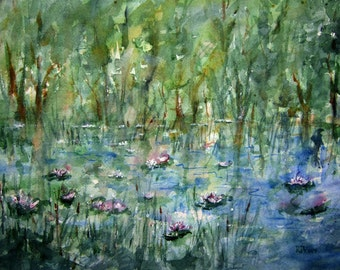 Print of Watercolor Landscape painting, Lily Pond, watercolor art, watercolor print, blue, green, home decor wall art, nature painting.